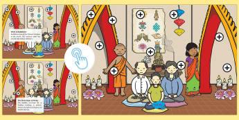 KS1 Buddhism Picture Hotspots - Buddhist, Buddha, Interactive, Information, Facts