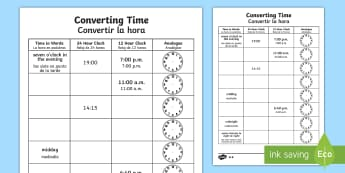 Converting Time Activity Sheet English/Spanish - converting time, time conversion, analogue clocks, digital clocks, reading the time, 24 hour clock,