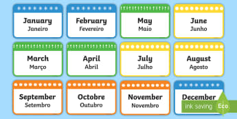 Months of the Year Flashcards English/Portuguese - Months of the Year Flashcards - months, year, flashcards, cards, months of the yearenglish, flashard