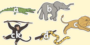 Phase 2 Phonemes on Jungle Animals - walking in the jungle, walking in the jungle phonemes, walking in the jungle literacy, jungle, sounds