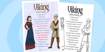 Viking Name Activity - vikings, viking, history, history activity