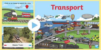 Transport Video PowerPoint - transport, transport powerpoint, transport videos, bus video, train video, aeroplane video, hot-air balloon video, videos