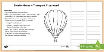 Transport Barrier Game Crossword - Communicative Activity, Paired Game, Paired Talk, Vocabulary, Speaking And Listening