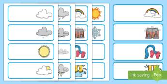 Labeli Droriau a Phegiau Thema'r Tywydd - Label, drawer, weather, labeli, droriau, tywydd, dosbarth,Welsh