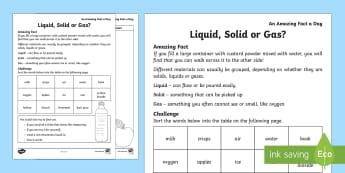 Solids Liquids and Gases - Solids Liquids and Gases, activity