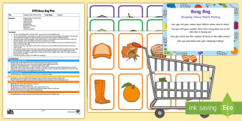 EYFS Shopping Colour Match Posting Busy Bag Plan and Resource Pack - supermarket, trolley, counting, colour recognition, number, maths