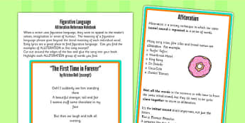 Y5 6 Figurative Language Activity Reference Sheet Alliteration