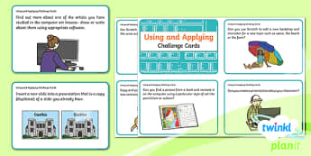 Computing: Using and Applying Skills Year 2 Challenge Cards