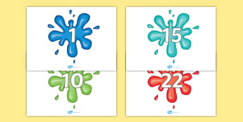 Numbers 0-100 on Splat - 0-100, foundation stage numeracy, Number recognition, Number flashcards, counting, number frieze, Display numbers, number posters