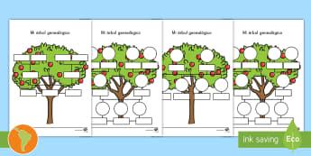 Ficha de actividad: Mi árbol genealógico - árbol familiar, árbol de familia, árbol genealógico, familia