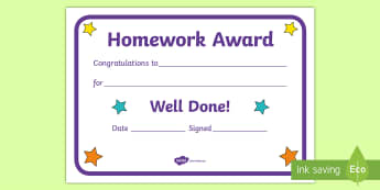 Homework Award A5 Certificate - reward, home school learning, Congratulations, well done, gift