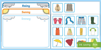 Workstation Pack: Weather Clothes Sorting Activity Pack - Workstation Pack, TEACCH, weather, sunny, raining, snowy, sorting, p scales