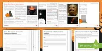 Ghosts, Black Cats and Jack-o'-Lanterns Differentiated Reading Comprehension Activity - halloween, reading comp, reading comprehension, black cats, symbols of halloween, creatures of hallo