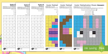 Easter Multiplication Mosaics Differentiated Activity Sheets English/Romanian - Year 3 times tables, Year 4 times tables, LKS2 times tables, Y3 times tables, Yr 4 times tables, LKS