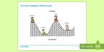 The Tudor Religious Rollercoaster Activity Sheet - Henry VIII, Elizabeth I, Edward VI, Mary I, Catholic, Protestant, reformation, worksheet