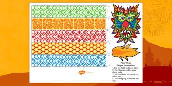 Chinese New-Year Paper Chain Craft Dragon - chinese new year