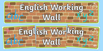 English Working Wall Display Banner - english working wall, english, display banner, display, banner