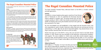 The RCMP Fact Sheet - canada, police, rcmp, mountie, officer, crime, justice