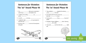 Northern Ireland Linguistic Phonics Stage 5 and 6, Phase 4b 'air and 'oo' Dictation Sentences Activity Sheets  - missing words, cloze, Worksheets, sentences, dictation, words, 'air', 'oo', sounds, phonics