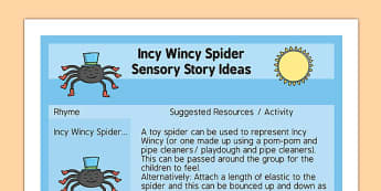 Incy Wincy Spider Sensory Story Ideas Sheet - incy wincy spider, sensory story, ideas sheet, idea, sensory, story
