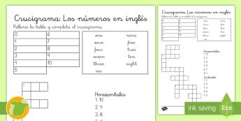 Crucigrama: Los números en inglés - numbers, lengua extranjera, english, crossword, uno, diez, ,Spanish-translation