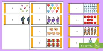Fasching Zahlen und Bilder Domino Karten - Karneval, Fasching,Fastnacht,Domino Spiel, Zahlen 1 bis 10,Erstes Zählen, Mathematik, 1./2. Klasse,