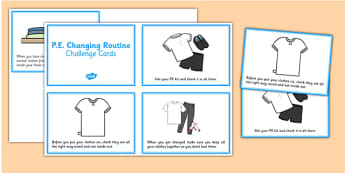PE Changing Prompt Cards - PE, changing, prompts, prompt cards, cards, flashcards, PE kit, clothes, shoes, sports