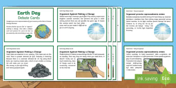 Earth Day Debate Cards English/Polish - KS2 Earth Day (April 22nd), debate, scenario, climate change, global warming, geography, global citi