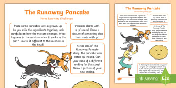 EYFS The Runaway Pancake Home Learning Challenges Nursery FS1 - The Runaway Pancake, traditional tales, pancake day, Shrove Tuesday, gingerbread man, Mairi Mackinno