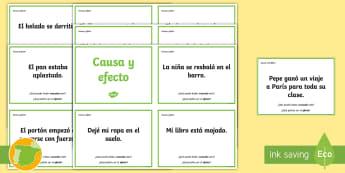 Tarjetas de trivial: Causa y efecto - lectura, leer, lengua, literatura, ,Spanish