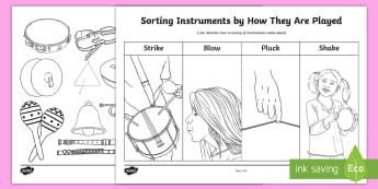 Sorting Instruments By How They Are Played Activity Sheet - CfE Science, science week, Edinburgh Science Festival, Glasgow Science Festival, worksheet, Scottish