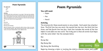 Poem Pyramids Activity - poetry, poems, literacy, english, words, sounds