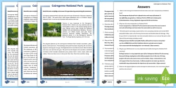 Cairngorms National Park Differentiated Reading Comprehension Activity - CfE, Scotland, Scottish, landscape, mountains, highlands, physical features, people and place, local