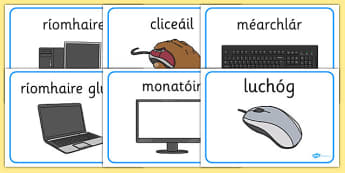 Computer Area Word Labels Gaeilge - gaeilge, Computer Area, ICT, Computer, printer, mouse, keyboard, click, CD, Internet