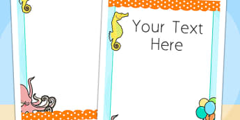Under the Sea Themed Birthday Party Editable Poster - poster
