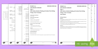 010 Eng Lang EDUQAS Style P1 Exam Questions Pack - English language GCSE Exam Papers, WJEC, EDUQAS, Reading, Writing, C19th Literature, Creative Prose,