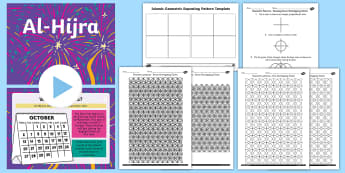 KS2 Al-Hijra Art and Poetry Greetings Card Lesson Pack - Acrostic Poem, patterns, repeating patterns, shape, Islam, RE