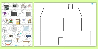 Large House Sorting Activity - BIC picture, houses and homes, fine motor skills, house, home, Word cards, Word Card, flashcard, flashcards, brick, stone, detached, terraced, bathroom, kitchen, door, caravan, where we live, ourselves