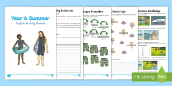 Year 6 Summer English Activity Booklet - Y6, transition, formal, synonym, passive, active, comprehension, hyphen, home learning, homework