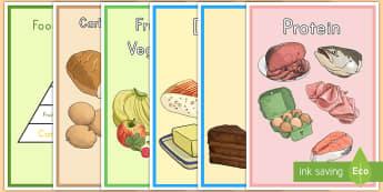 Food Pyramid Display Posters  - food pyramid, healthy eating, poster, display, food groups