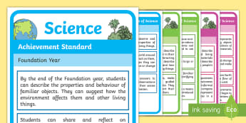 Science Achievement Standards F-2 Display Posters - Science understandings, science inquiry skills, Australian curriculum, Australian science,Australia