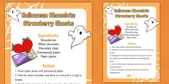 Halloween Chocolate Strawberry Ghosts Recipe - halloween, chocolate, strawberry, ghosts, recipe