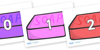 Numbers 0-31 on Soap (Multicolour) - 0-31, foundation stage numeracy, Number recognition, Number flashcards, counting, number frieze, Display numbers, number posters