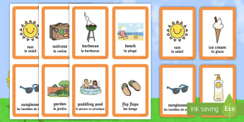 Summer Matching Cards English/French - Summer Pairs Matching Game - games, activities, activity, pair, summertime, Timw, mathching, EAL, En