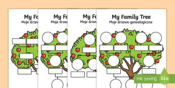 My Family Tree Activity Sheet English/Polish - My Family Tree Worksheets - Family tree, family tree template, my family, parent, mum, dad, grandpar