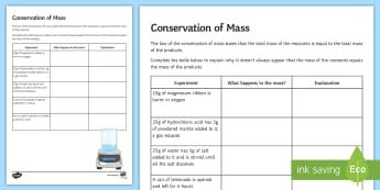 Conservation of Mass Activity - Requests KS3 Science, conservation of mass, experiments, home learning, homework, worksheet, plenary