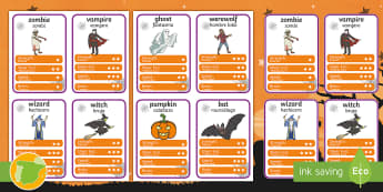 Halloween Character Top Card Game English/Spanish  - halloween, top, cards, halloween games, playing cards, games, activities, Halloween, EAL