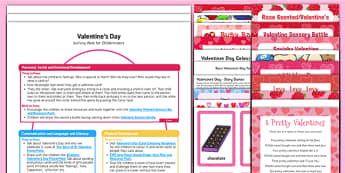Childminder Valentine's Day Activity Web and Resource Pack - Valentines day activities art, mathematics, literacy, knowledge, physical, recipes, songs, books