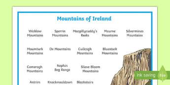 Mountains of Ireland Word Mat-Irish