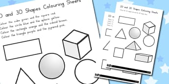 2D and 3D Shapes Colouring Sheets - australia, 2d, 3d, shapes